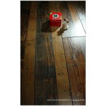Commercial 12.3mm Hand Scraped Walnut V-Grooved Laminate Floor