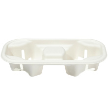 Eco friendly disposable drinking bagasse cup holder with lid