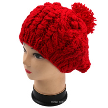 OEM Design Cable Hand Knit POM-POM Winter Hat Beanie Women