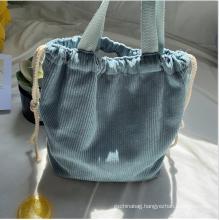 Custom solid corduroy bag drawstring bag handbag tote bags