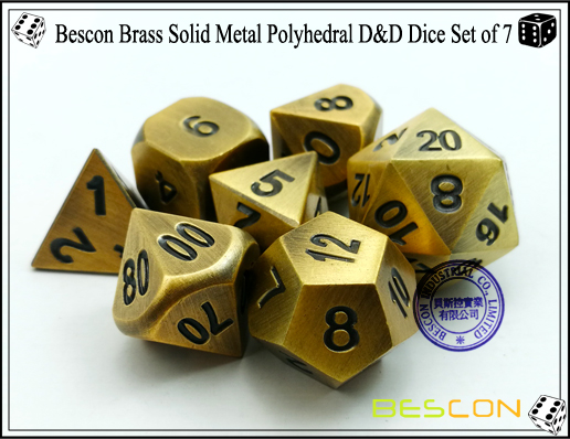 Bescon Brass Solid Metal Polyhedral D&D Dice Set of 7-5