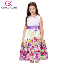 Grace Karin Lavender Flower Pattern Flower Girl Princess Bridesmaid Wedding Pageant Party Dress CL010419-1