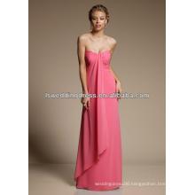 HB2108 Deep sweetheart neck strapless sleeveless asymmetrical hem A-line long chiffon full length bridesmaid dresses coral color