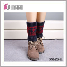 2015 Europe Christmas Contrast Color Deer Leg Warmers Knitted Socks
