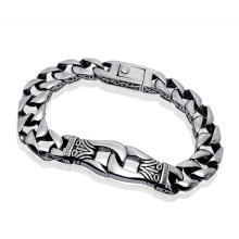 Bracelets cubains pour hommes en acier inoxydable Punk & Rock Style Silver Black
