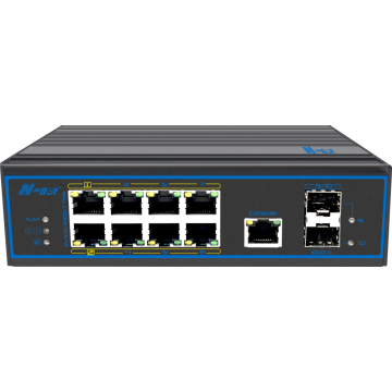 10 poorten, volledig gigabit beheerde PoE-switch