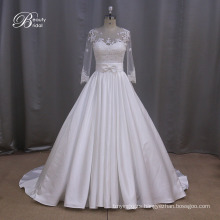 Taffeta Ruched Asymmetrical Modest Bridal Gown
