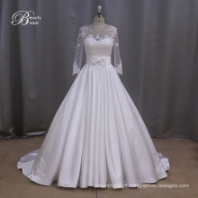 Vestido de noiva modesto assimétrico Ruched tafetá