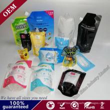 Custom Stand up Suction Nozzle Water Coffee Fruit Juice Drink Bag Plastic Bag Screw Cap Drink Bag