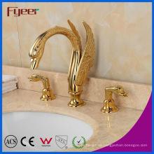 Fyeer New Atractivo Dual Handle Golden Waterfall Swan Basin Faucet