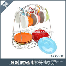 Combination of fashionable and colorful coffee cup plate set