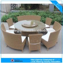 Ensemble de table à manger ronde en rotin de meubles de jardin