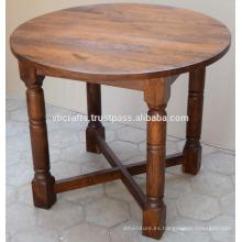 Mango Mesa de comedor redonda de madera