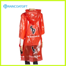 Erwachsener roter PET-Regen-Poncho-Umhang für Förderung (RPE-181)