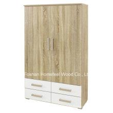 Nouvelle armoire à 2 portes en bois avec 4 tiroirs (WB77)