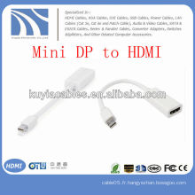 Blanc Mini DP vers HDMI Câble adaptateur mâle vers femelle pour Apple Macbook