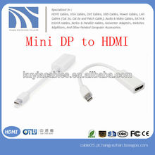 Mini DP branco para cabo adaptador HDMI macho para fêmea para Apple Macbook