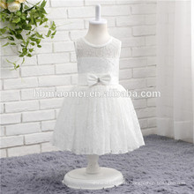 Горячий продавать белый цвет кружевной без рукавов один кусок девочки партии платье для Западной наряды
