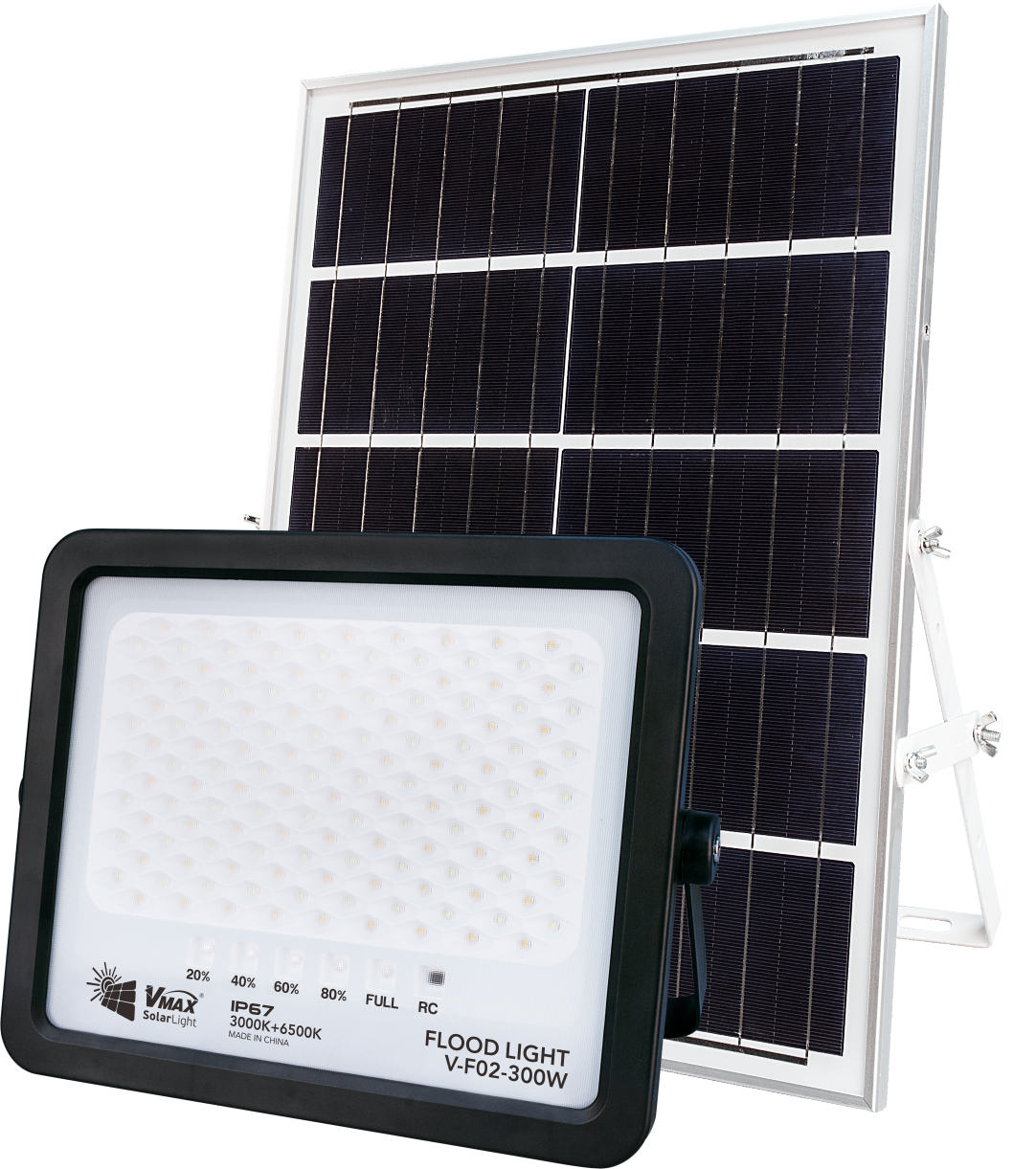 Solar flood light with built-in lithium