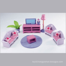 Pink Wooden Doll House Miniature Furniture Model