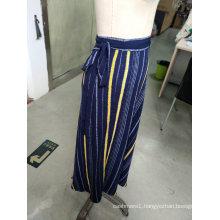 Spring Stripe Contrast Color Bowknot Elegant Ladies Long Skirt