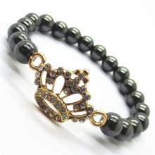 Pulsera Hematite 8MM Round Beads Stretch Gemstone con Diamante aleación imperial crown Pieza