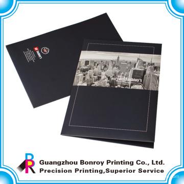 Горячая продажа логотип пользовательских печать папок handmade бумаги файл с двумя карманами