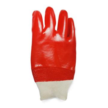 Luvas de punho de malha revestidas de PVC vermelho
