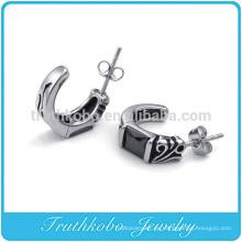 TKB-E0033 Pendientes de botón para hombre de acero inoxidable 316L con aro de bisagra de cristal negro