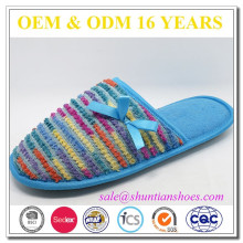 New design colorful knitted upper with bowknot lady bedroom terry slipper