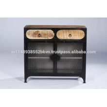 Industrial Vintage Metal and Wood 2 Drawer Iron Cabinet