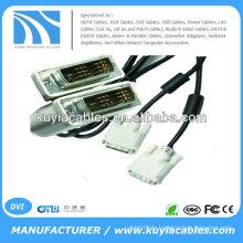 Vergoldet 5FT schwarz DVI 18 + 1 Single Link Stecker auf männliches Kabel mit 2 Ferrit