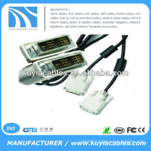 Plaqué or 5FT noir DVI 18 + 1 Câble mâle à câble mâle avec 2 Ferrit