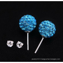 Boucles d'oreilles en argent sterling 925 Shamballa en argent sterling Boucles d'oreilles en bois de basketball BWE26