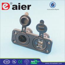 Daier New 12-24V Panel de dos orificios trasero Mini Car Motorcycle Cargador Dual USB Power socket Splitter