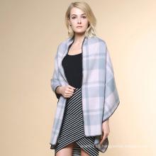 Women Fashion Checked Pattern 100% Cashmere Winter Shawl (YKY4521)