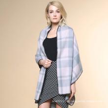 Mulheres moda padrão verificado 100% xaile de inverno de cashmere (yky4521)
