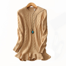 Women cashmere sweater with crew neck irregular lower hem long sleeves Mongolia heavy solid color sweet style sweaters