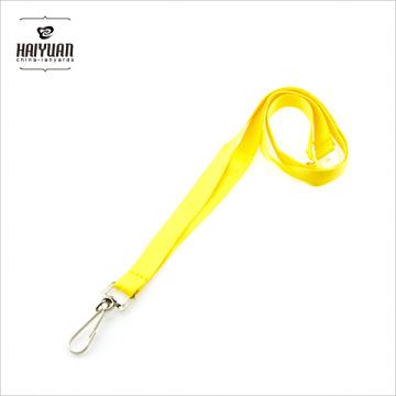 Kundenspezifische gelbe Farbe Blank Polyester Lanyard mit Metall Haken