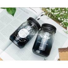 500ml 16oz Round Drinking Mason Glass Jar with Straw