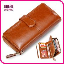 Vintage Genuine Brown Leather Men′s Bifold Wallet Purse with Zipper Coin Slot Pocket