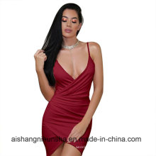 Sexy Strap Women Backless Wrap Evening Mini Short Gowns