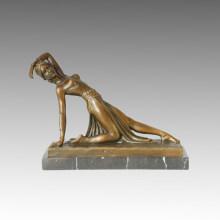 Bailarín Bronce Escultura Especial Señora Decoración Latón Estatua TPE-175