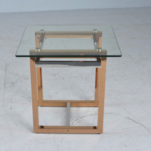 modern small metal side table with tempered galss