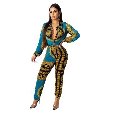 C3703 2019Women fashion sexy printing turn down collar jumpsuit long sleeve women bodycon jumpsuit pencil pants autumn clothing