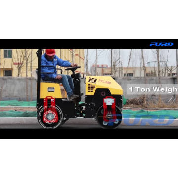 Hydraulic Double Drum Drive 1 Ton Vibratory Road Roller Compactor Machine