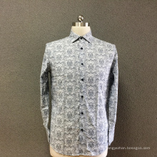 Chemise homme en coton gris imprimé