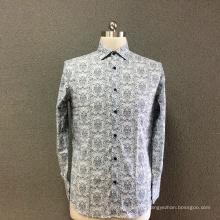 Мужская хлопковая серая рубашка с длинным рукавом с принтом