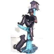 Bronze menino lendo livro na escultura de árvore BS023A