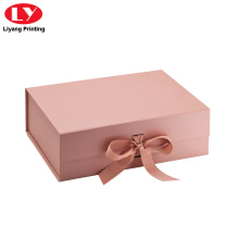Rose Gold Gift Box Folding Magnet dengan Reben